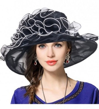 VECRY Women Church Dress Kentucky Derby Organza Wide Brim Party Hat - Black - C712NRY8T6G