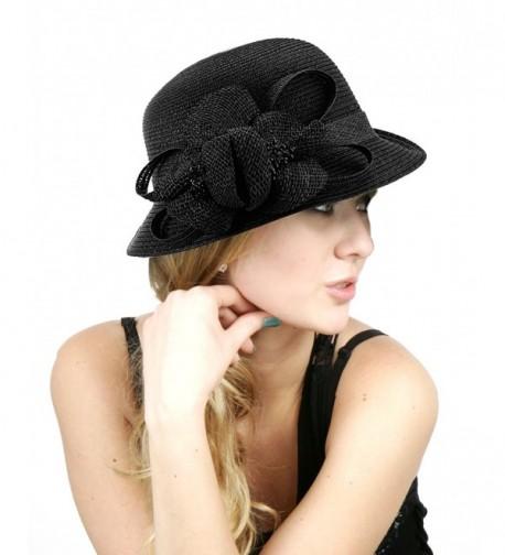 NYFASHION101 Side Flip Cloche Bucket Hat w/Woven Flower & Ribbon Accent- Black - C511W827RN3