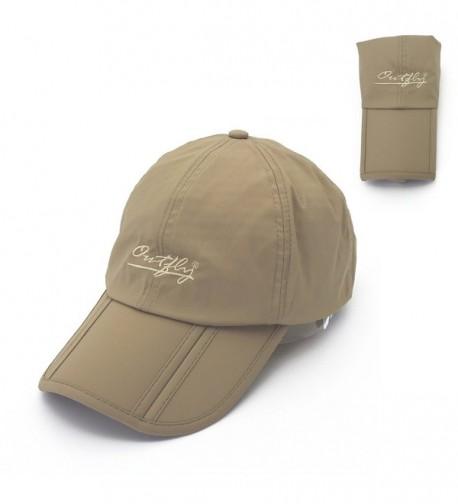 Outdoor Foldable Summer Sun Peaked Cap for Men - Khaki - CC17AAYL7YM