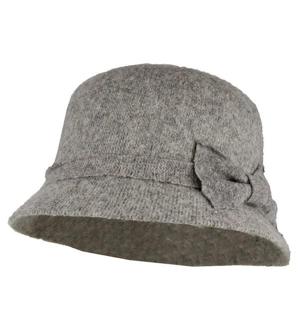 Side Bow Winter Cloche Bucket Hat w/ Adjustable Inner Drawstring - 100% Wool - Grey - CW186QKX4DH