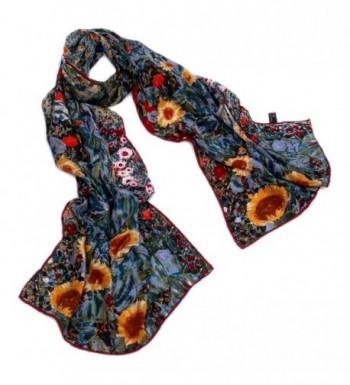 AngelShop Women's 100% Luxury Long Silk Scarf Van Gogh's Art Collection - Garden of Sunflowers - C112ENFUTNR
