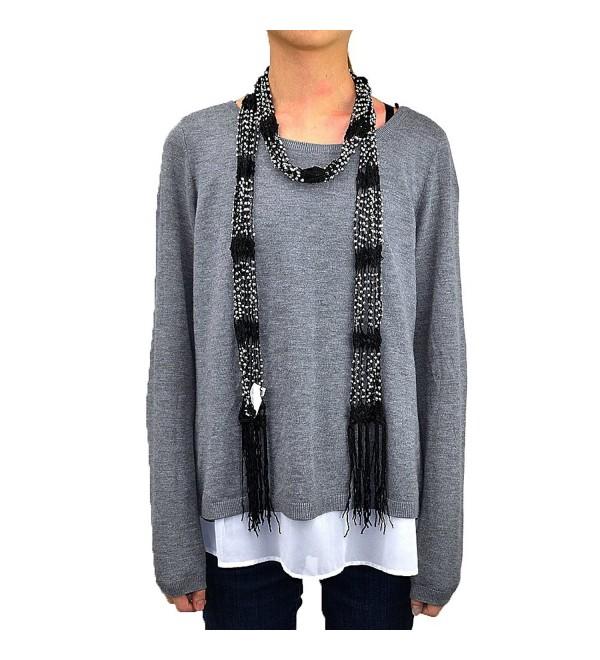 Crocheted Beads Bling Scarf with Fringe - Black - C912EM9S5U3