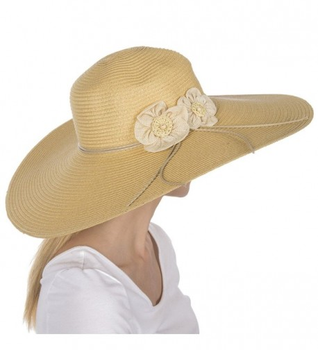 Sakkas Bella UPF 50+ 100% Paper Straw Flower Accent Wide Brim Floppy Hat - Natural - C91190EY3D9
