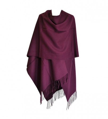 Toutacoo- Large Women's Poncho with Tassels- Ruana. Made In France. - 06-purple - CU110B5JO03