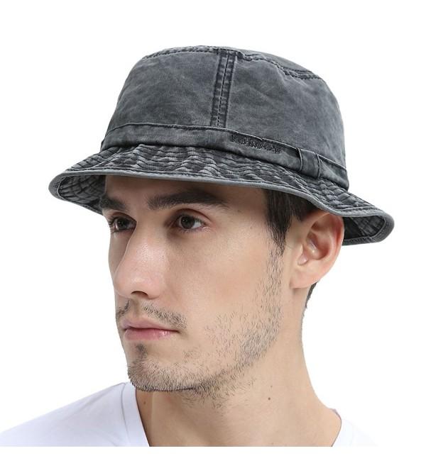 VOBOOM Bucket hat 100% Plain Weave Washed Cotton Packable Travel Retro Style - Black - CR185UDZODQ