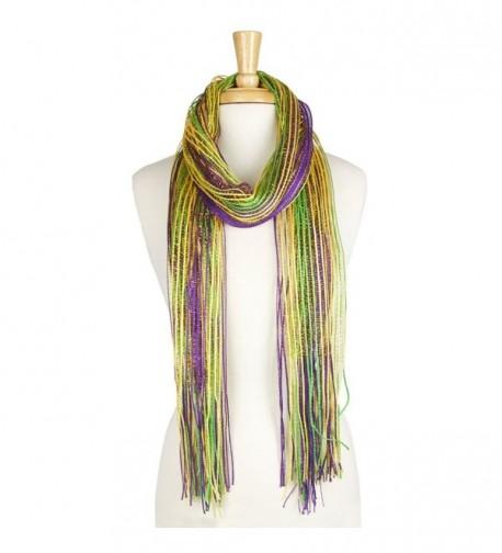 Mardi Gras Lulex Metallic Tassel Long Scarf - Purple - CL1875NGLD9