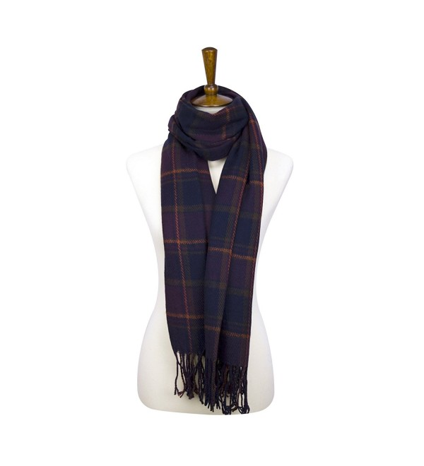 Rad Pixie Cashmere-like Acrylic Pashmina Large Winter Scarf Shawl Wrap - Plaid-purple - C11879ZHDWS