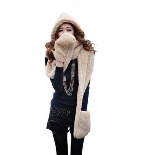 Tonwhar Womens Cute Winter Thick Warm Long Hooded Scarf with Mittens - Beige - C511PH7SBTF