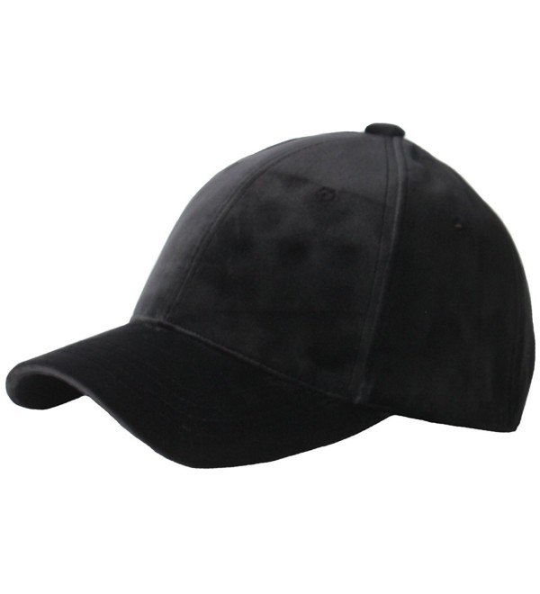 RaOn B182 Velvet Silk Fabric Feel Basic Simple Ball Cap Baseball Hat Truckers - Black - C412MAYESW2