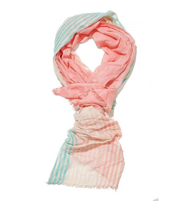 Ladies Gauze Scarf Stole Striped Gold Thread Shawl Wrap Fashion Scarves For Women - Pink- Blue- Gold - CH12N606BPI
