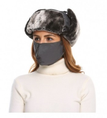 SHINE Unisex Winter Trapper Trooper Russian Hat with Windproof Mask - Gray - CK187R6W9L3