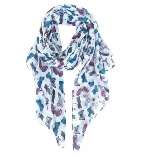 GERINLY - Multicolored Butterflies Scarf Cute Ladies Voile Wrap - White - CW185GXK33H