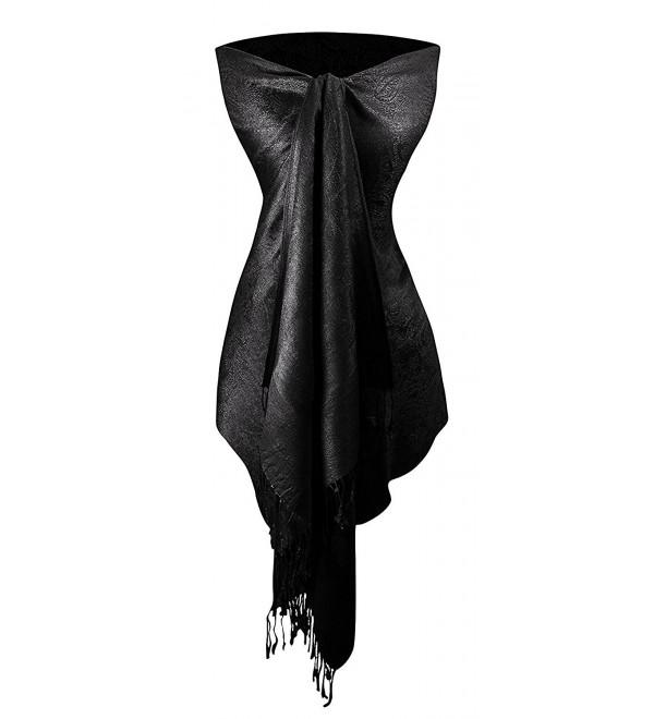 Peach Couture Womens Elegant Vintage Solid Jacquard Paisley Scarf Shawl Wrap - Black - CI187UCL24X