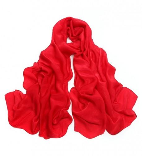 Sleep Koala Women's Silk Feeling Large Scarf Winter Soft Warm Shawl Wraps - Red - CP186ITQI32