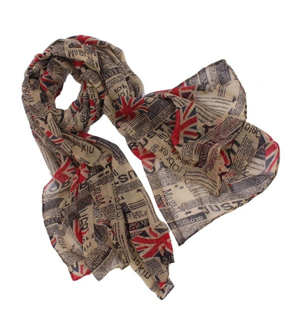 Aoloshow Women's Union Jack Flag Newspaper Scarf London Fashion Wrap - C011PVKXSCN