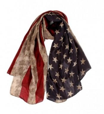 Deamyth Women Long Soft USA Flag Printed Voile Scarf Lady Wraps Shawl Headscarf - Khaki - CK12N0CCS57