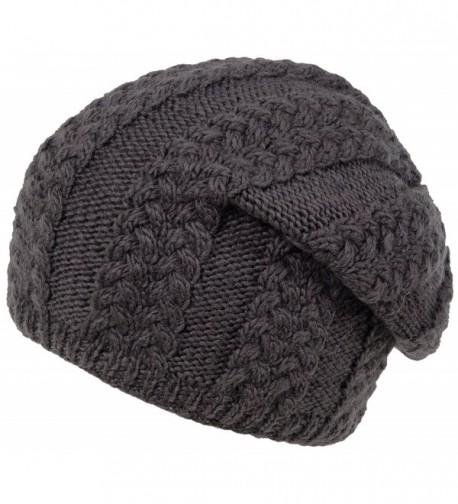 Nirvanna Designs CH409 Cable Slouch Hat with Fleece - Dark Grey - C111H7R06KF