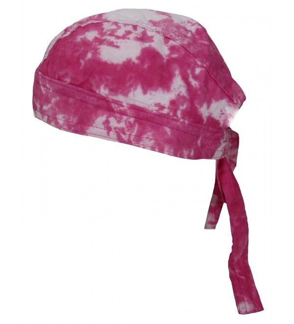 Women's Premium Cotton Tie Dye Skull Cap- Pink - CE12J6C4OJ7