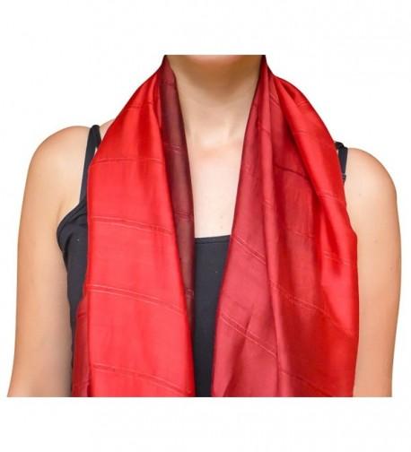 Unique Wrappable Silk Scarf. Handmade Blue Silk Scarves Wrap - Red - CS12MEKJ7LX