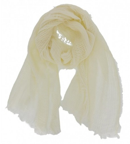 Cozzy Land Solid Oblong Lightweight Scarf - Cream - C8188868YDG