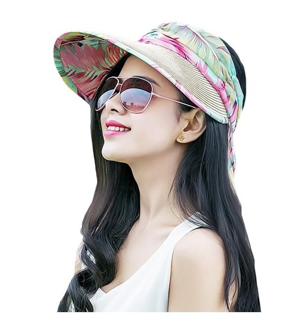 c760b35500860d MatchLife Women's Summer Visor Cap UPF 50+ Foldable Wide Brim Beach Straw Sun  Hat -