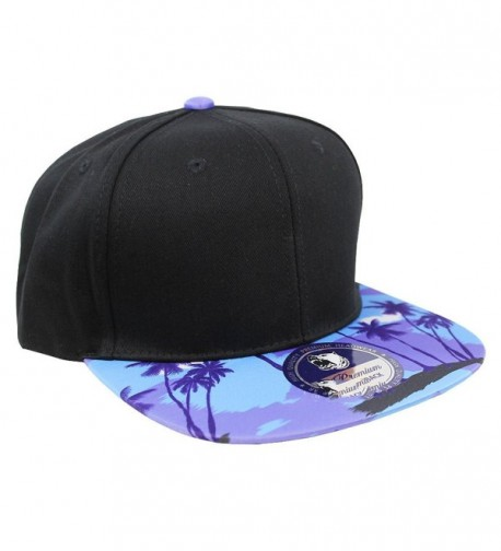 Tropical Hawaiian Palm Print Cap Snapback Flat Bill Adjustable - Black Palm Tree Shadow - CH129AXSWAR
