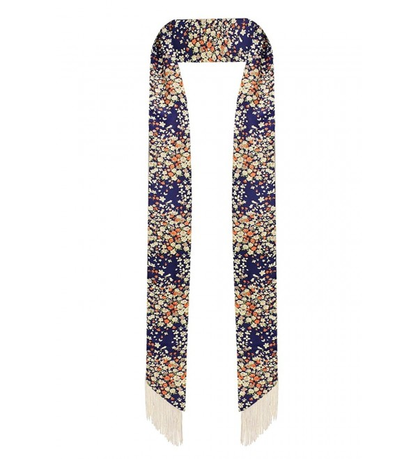 LL Womens Chic Long Skinny Thin Scarf Tie Sash Fringe Light Weight Many Styles - Navy Floral - C312CPDPM77