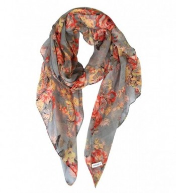 GERINLY Lightweight Scarves: Fashion Flowers Print Shawl Wrap For Women - Gray - CJ12E95ZH5L