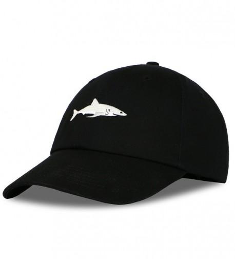 Blackblume Little Shark Embroidery Baseball Hat Adjustable Cotton Dad Caps - Black - C3186C62XZT