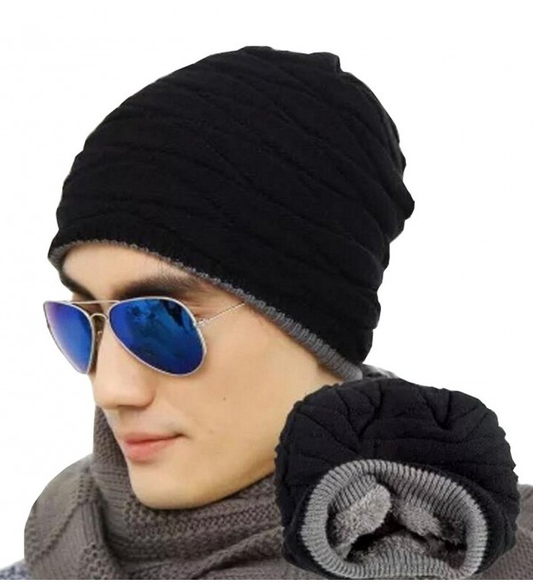 Vocni Mens Beaneie Hat Winter Fleece Lined Outdoor Warm Knit Skull Beanies Caps - Black - CH188RYERL2