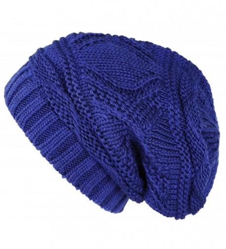 Lilax Knit Slouchy Oversized Soft Warm Winter Beanie Hat - Royal - C712MRKZP9X
