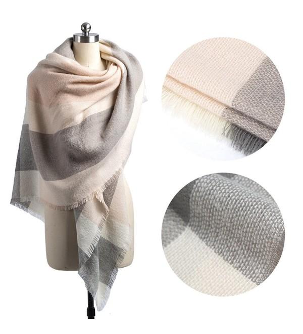 Women Plaid Blanket Scarf Winter Warm Large Soft Scarf Tassel Pashmina Shawl Wrap Black - Pink Grey - C4187Y703E9