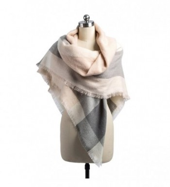 Women Plaid Blanket Scarf Tassel