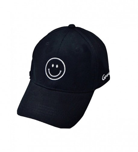 Moore Cool Mens Baseball Cap Smile Adjustable Printed Unisex Hip Pop Flat Hats - Black-smile - CN184N3EEXY