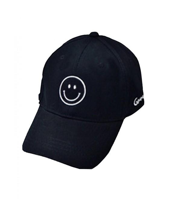 Moore Cool Mens Baseball Cap Smile Adjustable Printed Unisex Hip Pop Flat Hats - Black-smile - CN184N3EEXY
