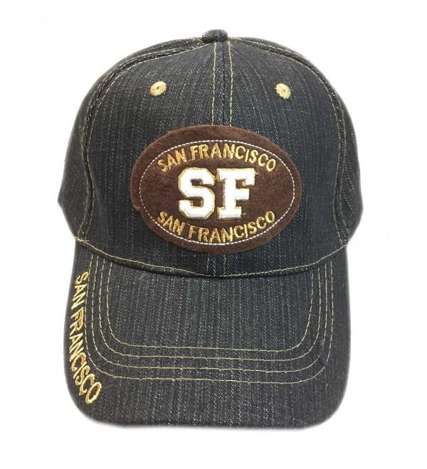 Aesthetinc San Francisco SF Patch Denim Cotton Baseball Cap Hat - Denim Black - C512BPMF7C9