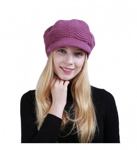 Women Knit Hat- Sothread Winter Wool Knitted Hat Beret Stretch Ski Beanie Cap with Visor (Hot Pink) - Hot Pink - CL188MM3SZ2