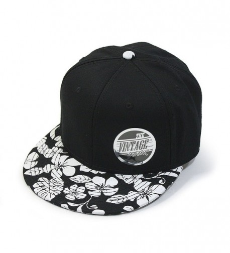 Vintage Year Premium Plain Cotton Twill Adjustable Flat Bill Snapback Hats Baseball Caps - Flower/Black - C812F46FNIF