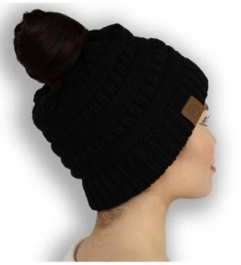 All Glamour Womens All Season High Bun Ponytail Beanie Messy Bun Beanie Multi Color Ribbed Hat Cap - Black - CT1892HLKZZ