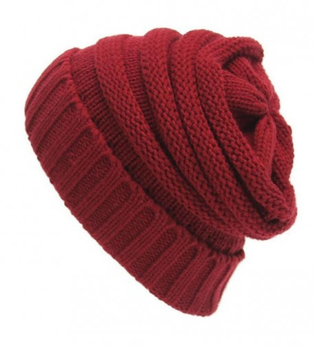 Leier Unisex Warm Beanie Cap Winter Cable Knit Thick Slouchy Outdoor Soft Hats - Red - CO187N78607