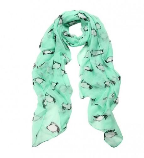 Penguin Print Pashmina Scarf- Luweki Soft Neck Shawl Scarves Stole Wraps - Green - CI12MA48YNC