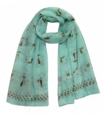 Lina & Lily Cat Kitten Print Scarf with Footprints Edges Large Size Lightweight - Mint - CD11XT85FF7