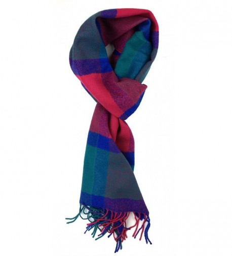 Plum Feathers Plaid Check and Solid Cashmere Feel Winter Scarf - Blue-fuchsia-teal - C3188ZOIXER