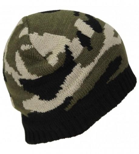 Best Winter Hats Cuffless Camouflage Beanie W/Lining (One Size) - Green Woodland - C1188CYC7N0
