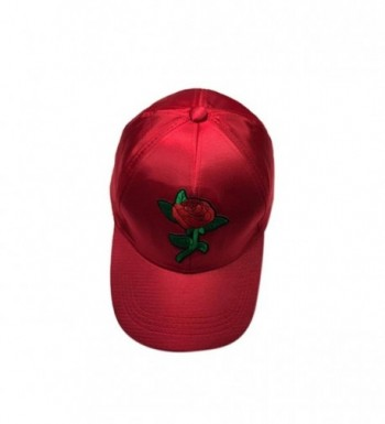 Caps- Toraway Unisex Fashion Rose Embroidery Baseball Cap Adjustable Hip Hop Rose Hat - Red - CT182YYW7QX