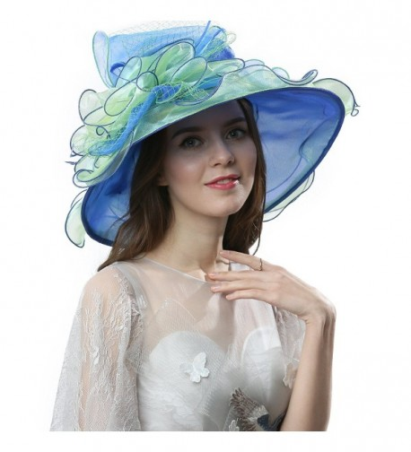 Janey&Rubbins Women's Elegant Organza Wide Brim Hat for Church- Wedding- Paryt- Derby Day - 42b-blue/Green - CZ17X63A3TE