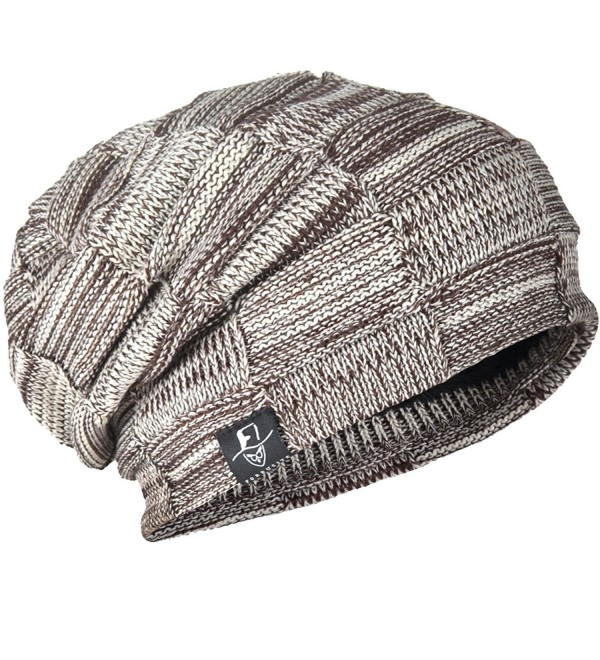 Men Knit Beanie Skull Cap Retro Thick Warm Winter Top Hat - Brown - C512N3266XT