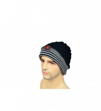 MATCH MUCH Beanie Hat Knitted Hat Slouchy Baggy Hat For Winter - Two-sided Black - C912N2VZ54N