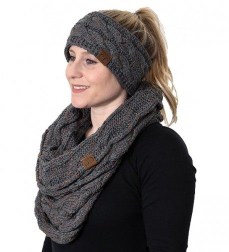 CC Confetti Cable Knit Fuzzy Lined Head Wrap With Matching Infinity Scarf - A Confetti Melange Grey Design - CK180L25I5D