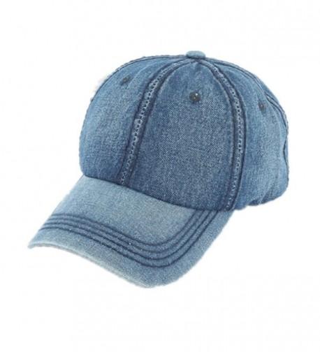 Joymee Washed Low Profile Cotton and Denim Baseball Cap Hat - Dark Blue - CN182SGYHK9